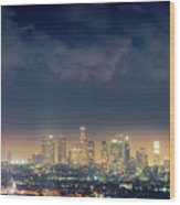 Night Los Angeles Skyline Wood Print