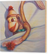 Night Night Sock Monkey Wood Print