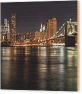 Night Nyc Panorama Wood Print