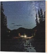 Night On The Blue River Wood Print