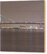 Night On The Delaware - The Benjamin Franklin Bridge Wood Print