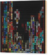 Night On The Town - Digital Art Wood Print by Carol Groenen
