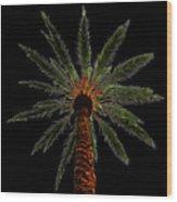Night Palm Wood Print