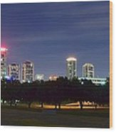 Night Pano Of Fort Worth Wood Print