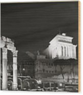 Night Panorama In Rome Wood Print