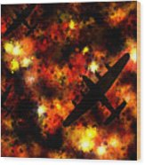 Night Raid - Lancaster Bomber Wood Print