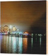 Night Reflections Hudson River Ny Nj Wood Print