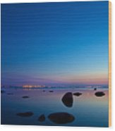 Night Reflections Sea Scape After Sunset Wood Print