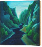Night River Wood Print