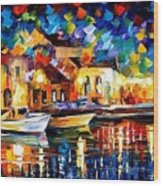 Night Riverfront - Palette Knife Oil Painting On Canvas By Leonid Afremov Wood Print