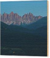 night scene of Dolomites Alps, val di Funes Wood Print