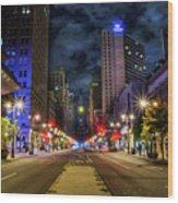 Night Shot Of Broad Street - Philadelphia Wood Print