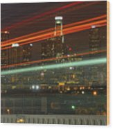 Night Shot Of Downtown Los Angeles Skyline From 6th St. Bridge Wood Print