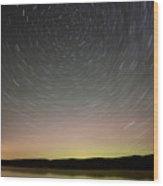 Night Shot Star Trails Lake Wood Print