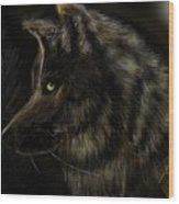 Night Silent Wolf Wood Print