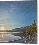 Night Sky Panorama Of Pyramid Lake Wood Print