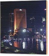 Night Skyline Of Jakarta Indonesia 3 Wood Print