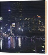 Night Skyline Of Jakarta Indonesia 4 Wood Print