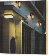 Night Street Cafe Wood Print