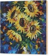 Night Sunflowers Wood Print
