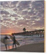Night Surfing Wood Print by Gary Zuercher