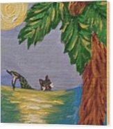 Night-swimming Mercat Wood Print