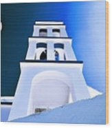 Night Taking Over The Day Of Church In Greece Crete 2 Wood Print