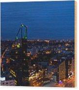 Night Tallinn City Line Panorama Wood Print