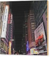 Night Time At Times Square Wood Print