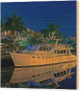 Night Time In Fort Lauderdale Wood Print