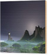 Night Time Ocean Scene Wood Print