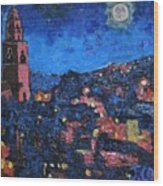 Night Time View Of Cork City Wood Print