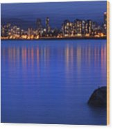 Night Vancouver Cityscape Wood Print
