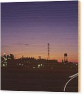 Night View Of An Industrial Plant Wood Print