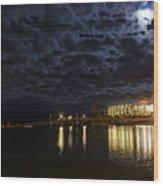 Night View Of Bar Harbor Maine Wood Print