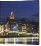 Night View Of Galata Bridge And Galata Tower. Wood Print