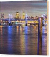Night View Of Hungerford Bridge And Golden Jubilee Bridges London Wood Print