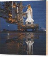 Night View Of Space Shuttle Atlantis Wood Print by Stocktrek Images