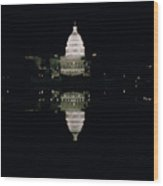 Night View Of The Capitol Wood Print
