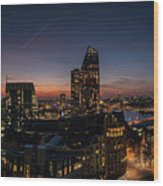 Night View Of The City Of London Wood Print