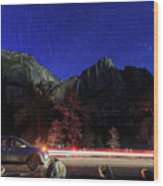 Night View Of The Upper And Lower Yosemite Fall Wood Print
