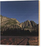 Night View Of The Upper Yosemite Fall Wood Print