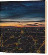 Night View Over Paris With Eiffel Tower Wood Print