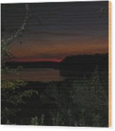 Night View Over Pond Wood Print
