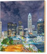 Night View Scenes Around Charlotte North Carolina Wood Print