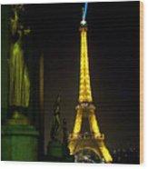 Night Vision - Eiffel Beauty Wood Print