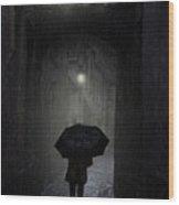 Night Walk In The Rain Wood Print