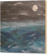 Night Waves Wood Print