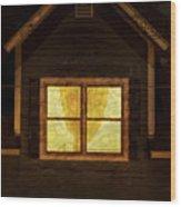 Night Window Wood Print