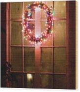 Night Wreath Wood Print